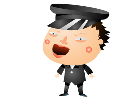 Angry student in uniform 向量圖像