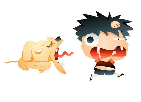Dorky boy running from a dog