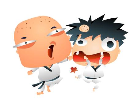 Dorky boys fighting Illustration