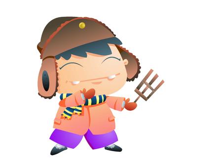 Dorky boy in winter clothes Illustration