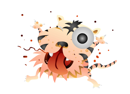 Crazy looking tiger making a weird face Illustration