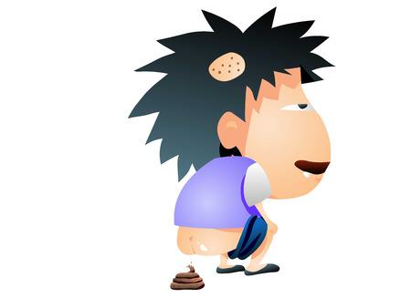 Dorky looking boy pooping Illustration