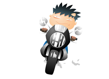 Bad boy on a motorcycle Illustration