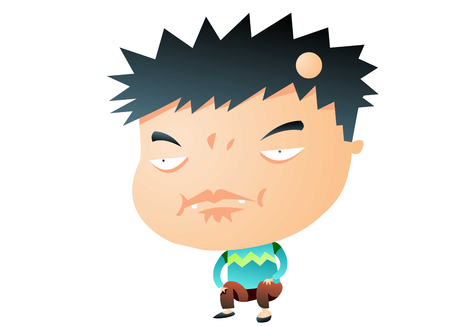 Dorky boy making a weird face Illustration