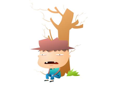 Weird boy with a hat Illustration