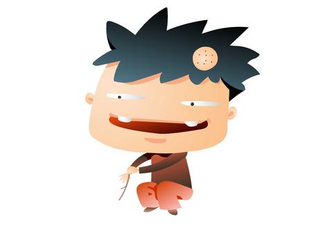 Dorky boy playing with a stick