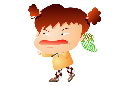 nervousness: Girl with a big head and a big mouth Illustration
