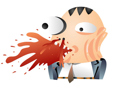A dorky looking man in suit with a bloody face Illustration