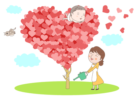 Cute baby on a red heart vector illustration Illustration