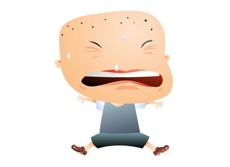 Little bald headed boy sweating Illustration