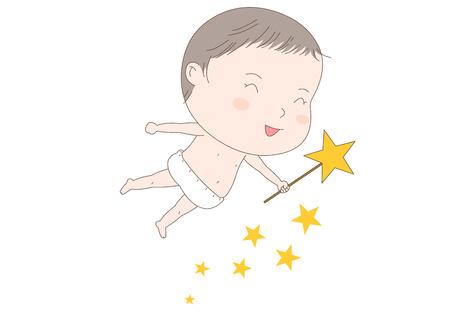 Cute flying baby vector illustration