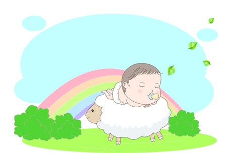 Cute baby on a lamb vector illustration Illustration