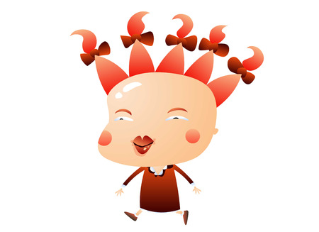 Sassy little girl with wild red hair Illustration