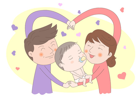 dreamland: Cute baby with parents vector illustration