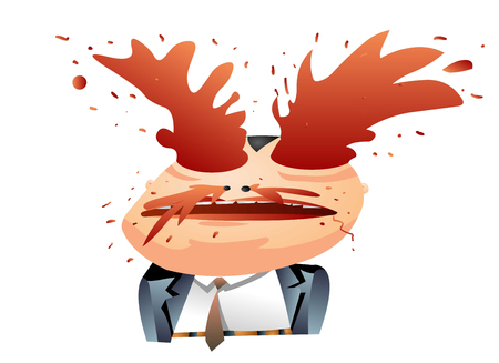 A dorky looking man in suit with a bloody face and popping eyes. Illustration