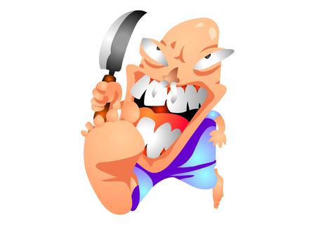Crazy Mad Murderer with a knife Vektorové ilustrace