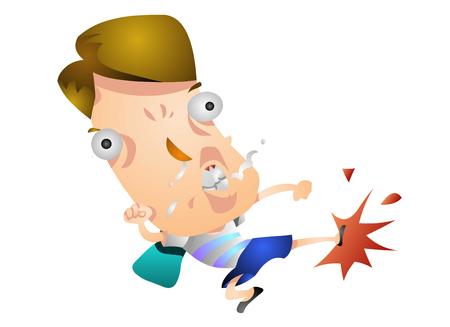 Un uomo arrabbiato bizzarro che dà dei calci