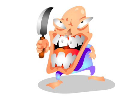 Crazy Mad Murderer with kitchen knife. Illustration