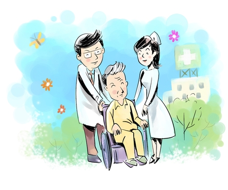 Doctor and nurse caring for an old man Stock Photo