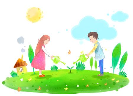 若いカップルが美しい春の日イラストに植物に水をまく