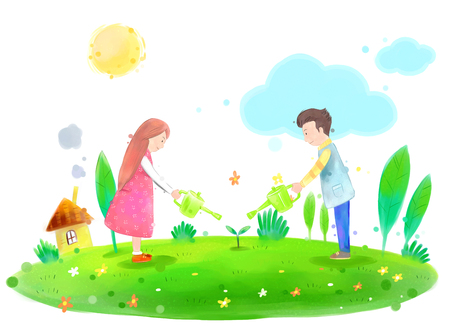 Young couple watering plants on a beautiful spring day illustration Stock Photo