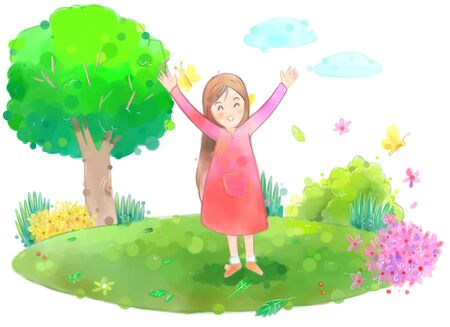 hurray: Young woman outside on a beautiful spring day illustration