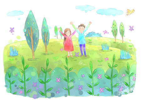 hurray: Young couple outside on a beautiful spring day illustration Stock Photo