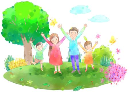 美しい春の日イラストに外の若い家族
