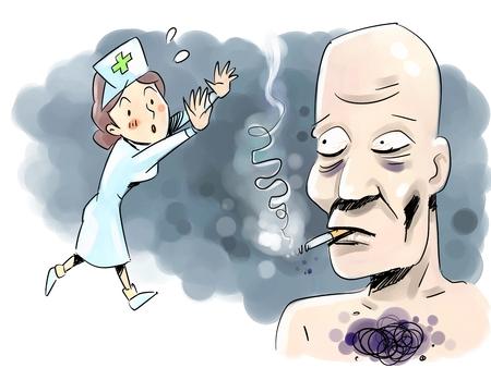smoking woman: A bald man having lung cancer Stock Photo