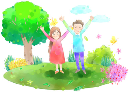 Young couple outside on a beautiful spring day illustration Stock Photo