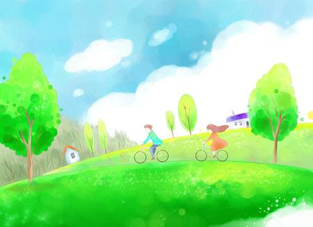 美しい春の日イラストに自分の自転車で若いカップルします。