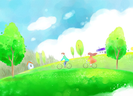 Young couple on their bicycles on a beautiful spring day illustration