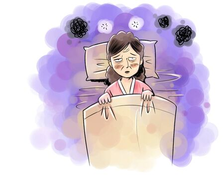 Woman fighting fever Stock Photo