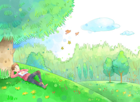 Young man outside on a beautiful spring day illustration