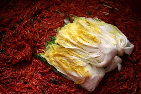 Kimchi making process Stock Photo