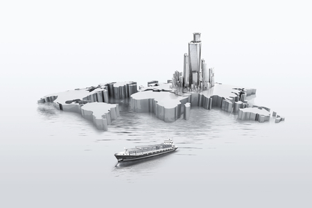 Tall buildings on the world map - 3D
