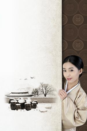 韓国の伝統的な絵画と韓で韓国の女の子