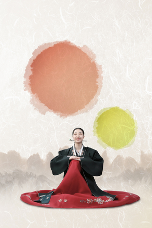 Korean girl in Hanbok Stock Photo