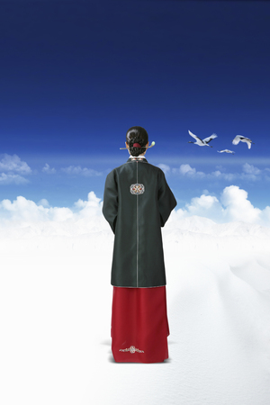 Korean girl in Hanbok Stock Photo