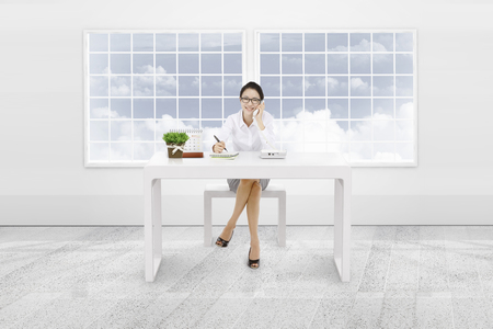 cs: Woman working in the 3d office background