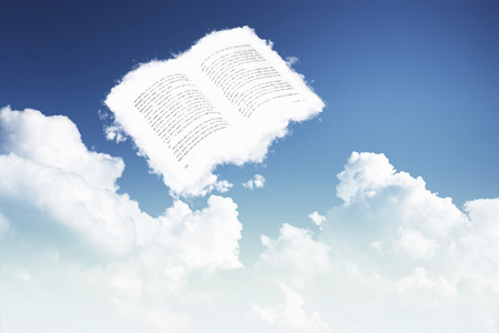 essays: Book-shaped cloud in the sky Stock Photo