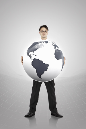 Man hoilding 3d globe Stock Photo