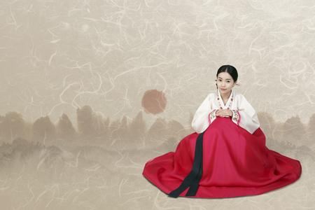 Korean girl in Hanbok Stok Fotoğraf