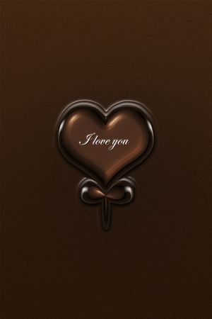heart shaped: Heart shaped chocolate with I love you on it Stock Photo