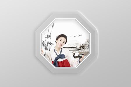 Korean girl smiling in Hanbok Stock Photo