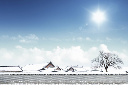 Korean traditional house in winter Stok Fotoğraf