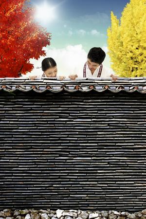 hanbok: Korean couple in Habok in hanok,korean traditional house,korea,asian,oriental, Korean traditional house
