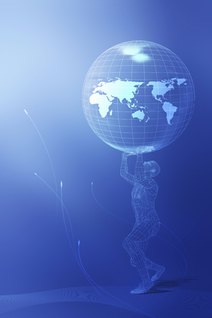 foreign bodies: 3d - man holding up globe Stock Photo