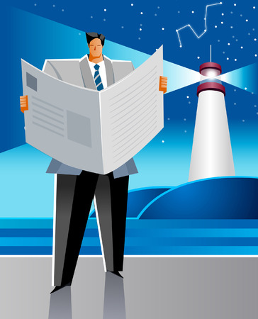 Businessman reading a newspaper with a light in the background Illustration