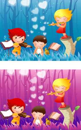 flute: Montage of two girls and a boy playing musical instruments in a forest